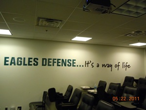 On the wall inside the classroom for defensive film study