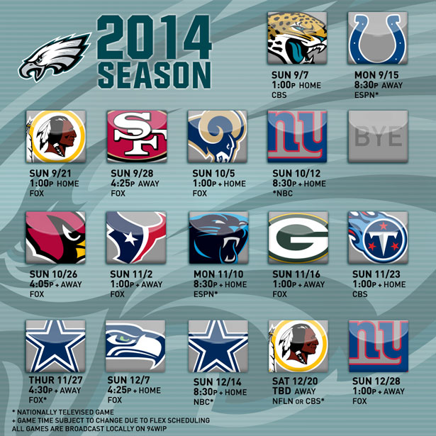 Eagles 2014 schedule