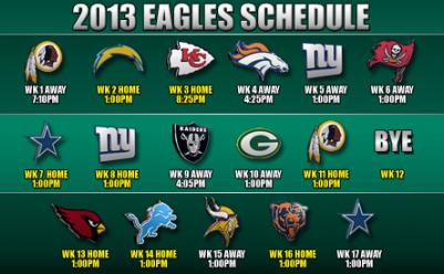 2013 Philadelphia Eagles Schedule