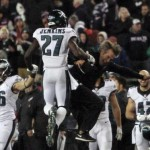 Eagles flying high after shocking win in New England.  AP Photo/Bill Sikes