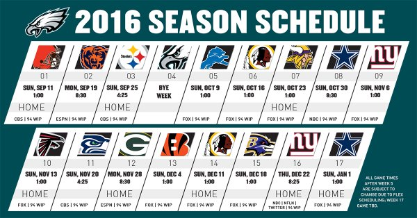 Eagles Schedule 2016